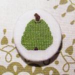 Green pear cross stitch brooch